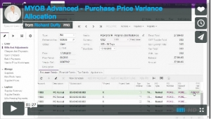 MYOB Advanced Demonstration Video - Purchase Price Variance Allocation