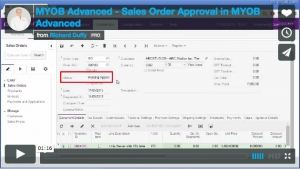 MYOB Advanced Demonstration Video - Sales Order Approval in MYOB Advanced